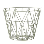 ferm Living – Wire Basket, medium, støvet grøn